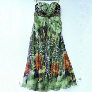Anny Lee Women Dress Size XXXL Green Floral Zebra